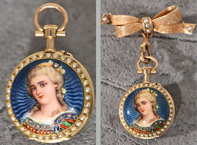 Rare Miniature Enamel Pocket Watch With Brooch~Lecoultre~ Pearl-Set On Both Side