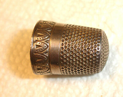 Antique Sterling Size 8 Five Point Star Silver Thimble Fancy Border