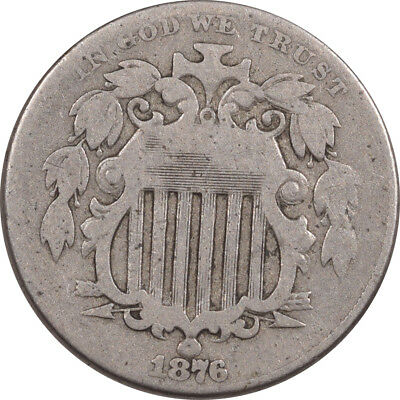 1876 Shield Nickel - Dbl Die Obv Fs-102 Fletcher 5 - Pleasing Circulated Example