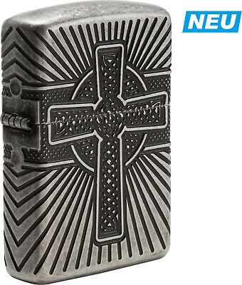 "Zippo ""Celtic Cross"" Silver Antique Armor Case Lighter ** New ** Deep Engraved"
