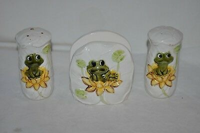 vintage 1977 SEARS ROEBUCK NEIL the FROG NAPKIN HOLDER SALT & pepper SHAKERS