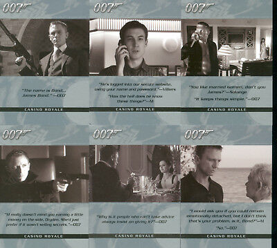 The Complete James Bond Complete 6 Card Chase Set Quotable Bond
