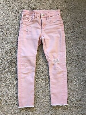 H&M Jeans Hose 116 Skinny Fit Used Look Rosa Mädchen