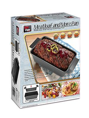Non-Stick Meat Loaf Pan with Inner Insert and Drip Tin Includes recipe book.