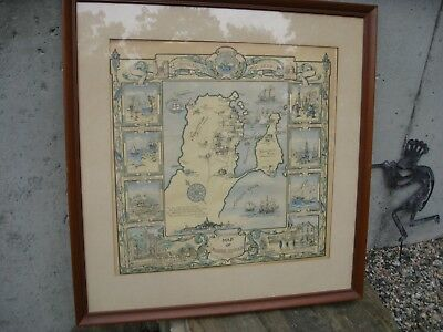 1929 Original ANTIQUE rare Pictorial Map Marblehead Marian M Brown, Nutting