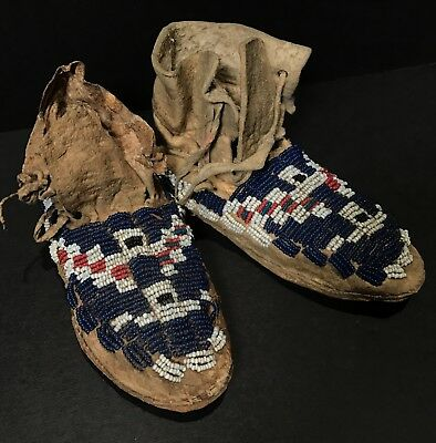 Rare Pair 19th C PLAINS / SIOUX SINEW BEADED ON HIDE CHILD'S MOCCASINS,Excellent
