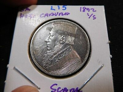 L15 South Africa 1892 Shilling Hobo Carved SCARCE