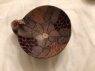 African Hand Carved Wooden Bowl  with Leopard Made In Kenya