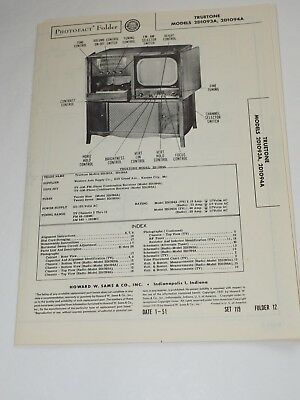 1951 Repair & Parts photo-fact Manual for TrueTone Models 2D1093A,2D1094A