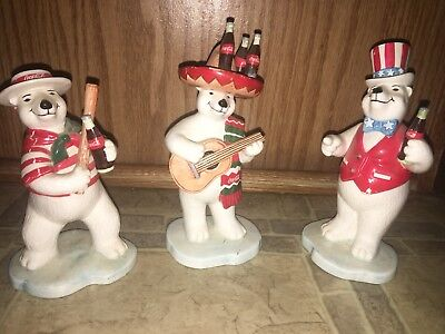 Set Of 3 Vintage Coca Cola Ceramic Polar Bear Figurines 1995 Enesco