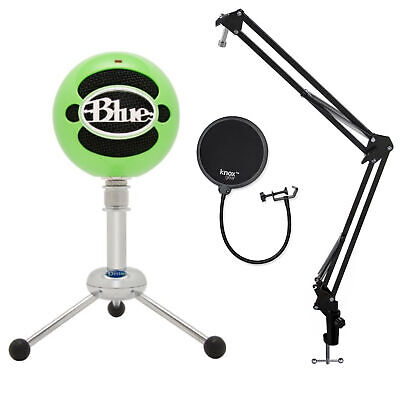 Blue Microphones Snowball-GN USB Mic (Neon Green) with Boom Arm and Pop Filter