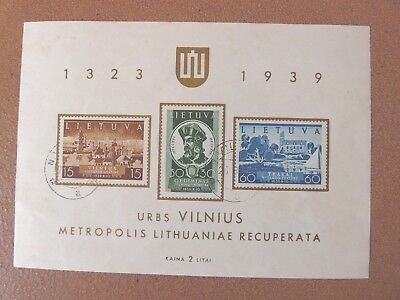 Lithuania 1939 Vilnius mini-sheet, very fine used