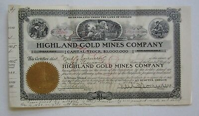 Old 1905 - Highland GOLD MINES CO. - Mining Stock Certificate - Sumpter OREGON