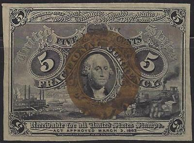 "1863 Civil War 5c Fractional Currency - ""Receivable for All US Stamps"" Treasury"
