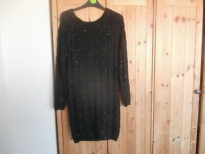 heavenly bump black long cable knit jumper with sequins size s / m