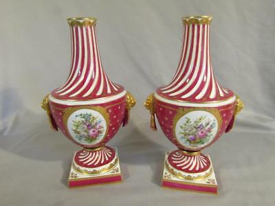 """Pair Exquisite French Sevres 12"""" Gilt Urns Or Vases - Floral With Lion Handles"""