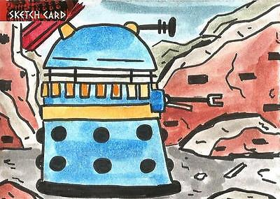 Dr Doctor Who Daleks 2150AD Sketch Card by Jerry Fleming of a Dalek