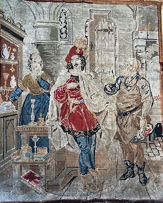 Antique 19th century Petit point tapestry framed wool & silk court scene