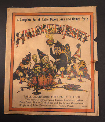 Original RARE Vintage Halloween  Party Table Decorations And Games 1930s NO~RESE