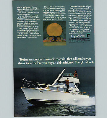1970 PAPER AD Trojan Yacht 31' Sea Voyager Express Cruiser 225 HP 30 MPH  Wooden