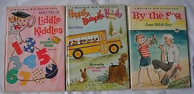 Lot of 3 Three Whitman BIG Tell-A-Tale HBs picture books Kiddles Bumpily Sea