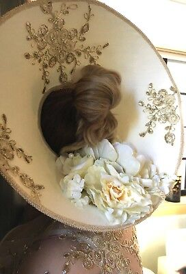 Gold and Beige open crown hat, Church, Kentucky Derby, Wedding, Costume, Bridal