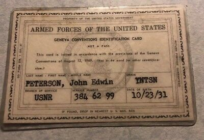 Us Army ID Card Geneva Conventions 1949