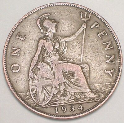 1934 UK Great Britain British One 1 Penny King George V Coin VF+