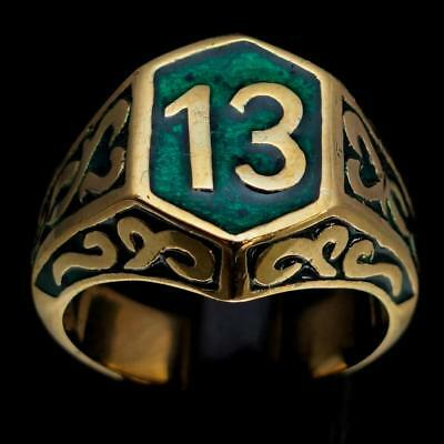 Mens Bronze Biker Ring Celtic Ornament Lucky Number 13 Dark Green Any Size