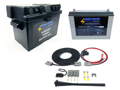 LIGHTNING Universal Dual Battery System - Auxiliary Power Battery Box + 120AH AG