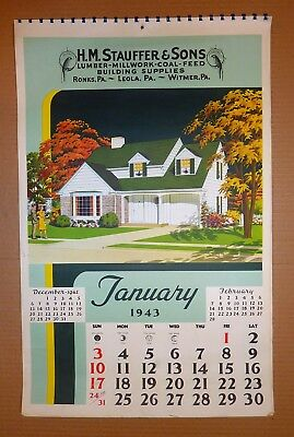 "1943 NATIONAL PLAN SERVICE Calendar - 15""x23¾"", 12 Pgs, Pics of 1940's Houses"