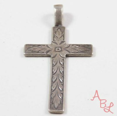 Sterling Silver Vintage 925 Religious Cross Etched Floral Pendant (2.8g) 741010