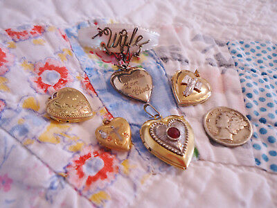 Lot Of 5 Antique/vintage Gold Filled Ornate Heart Lockets