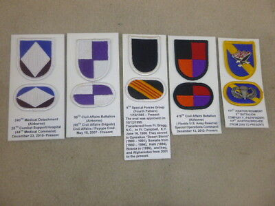 Super Id'd Group Of Beret Flashes With Ovals & Pins From Collection ( D )