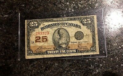 1923 25 Cents Dominion Of Canada Missing Cut