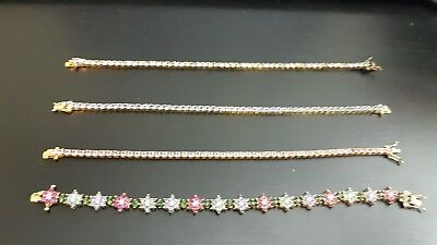 Joan Rivers tennis bracelet lot of 4 signed vintage bracelets ,rhinestones