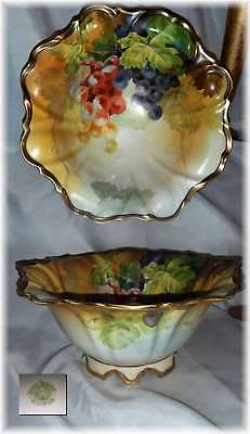 Antique Nippon Large Ruffled Fruit Bowl Hand Painted Grapes Green Wreath Mark