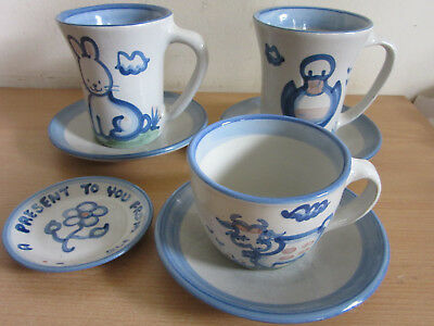 Vintage MA Hadley 7pc Lot Coffee & tea cups, saucers, small dish duck rabbit cow