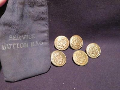 US Army WWII/Pre-WWII Service Button Bag with 5 Great Seal of US Buttons
