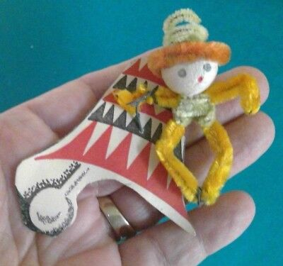 Vintage CHRISTMAS~NEW YEAR'S~CHENILLE FIGURE~SPUN COTTON~BELL TAG~SO CUTE!