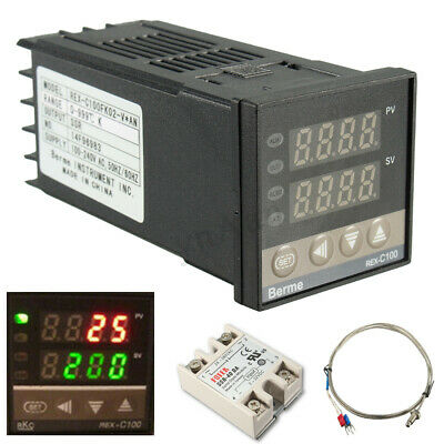 Digital REX-C100 AC PID Temperature Controller + Max.40A SSR + K Probe