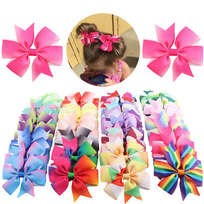 USA 40pcs 20 Pairs Baby Girls Hair Bows For Kids Hair Bands Alligator Hair Clips