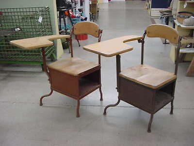 Rare Vintage Pair Industrial Steampunk Old School Desks Chairs W/ Swivel Backs