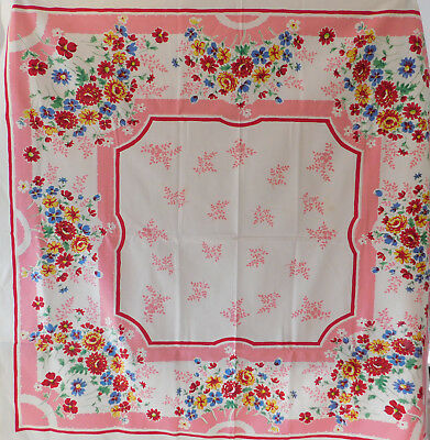 Vintage 1940's-50's colorful floral tablecloth~Pink~Red~Blue #1