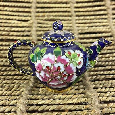 Antique Old Collectible Rare Chinese Handwork Cloisonne Nice Peony Flower Teapot