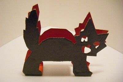 Vtg Halloween Cardboard Cat Candy Container Nut Cup
