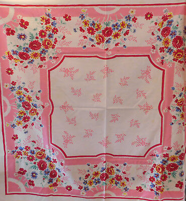 Vintage 1940's-50's colorful floral tablecloth~Pink~Red~Blue #2