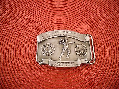 1989 106Th Connecticut Firemans Convention Belt Buckle Leather King #371 NEW
