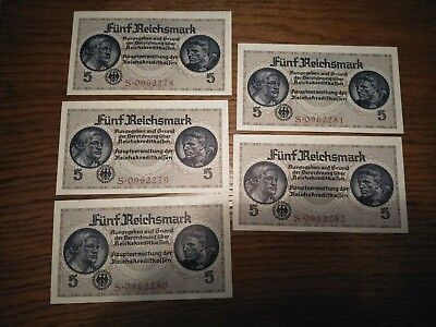 Rare! Nazi Germany (Occupied Territories) 5 Reichsmark Unc Banknotes Run Of Five