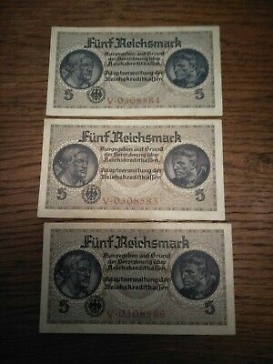 Rare! Nazi Germany (Occupied Territories) 5 Reichsmark Trio Of Banknotes!